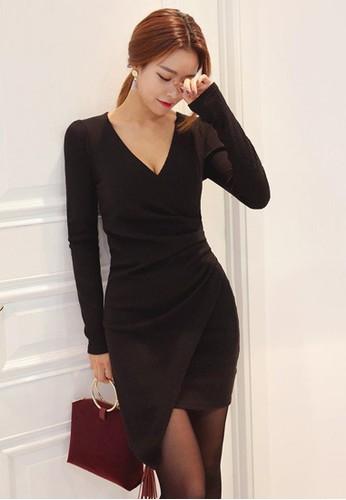 包裹式不對稱捏褶連衣裙, 服飾, 短esprit hk分店洋裝