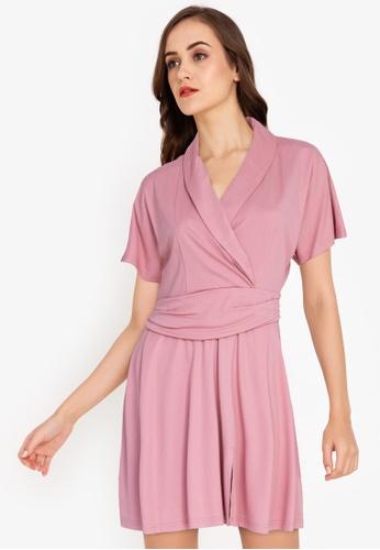 ZALORA WORK pink Wrap Fit & Flare Dress 1DDEBAAE27A425GS_1