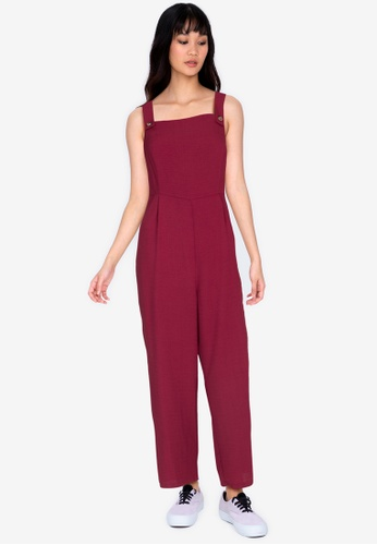 ZALORA BASICS red Pinafore Jumpsuit With Belt 45678AAA68021BGS_1