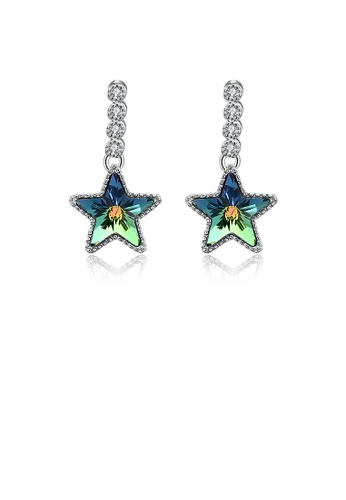 Glamorousky multi 925 Sterling Silver Fashion Elegant Star  Earrings with Multicolor Austrian Element Crystal 776CDACE50FA9DGS_1