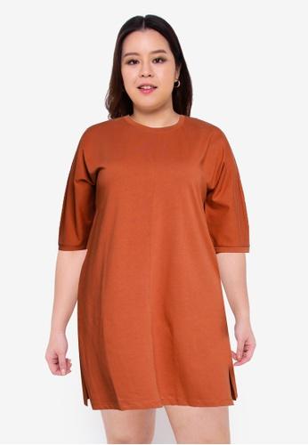 Vero Moda orange Plus Size Ylli T-shirt Dress 654ABAA4783D52GS_1