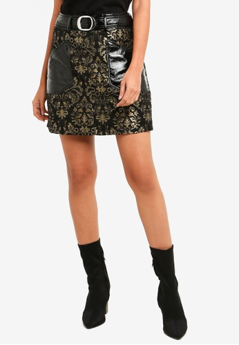 River Island black Ad Camapaign Patched Pu Zip Skirt 70E46AAAD3609BGS_1