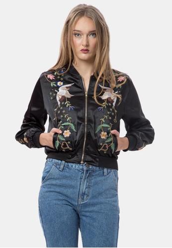 Jual Mky Clothing Bird Floral Bomber Jacket In Black Original