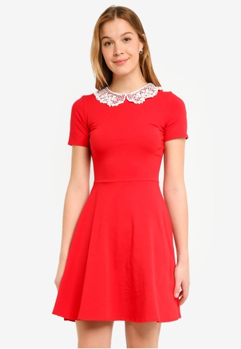 ce08637d85ab12 Buy Dorothy Perkins Red Lace Collar Dress Online on ZALORA Singapore