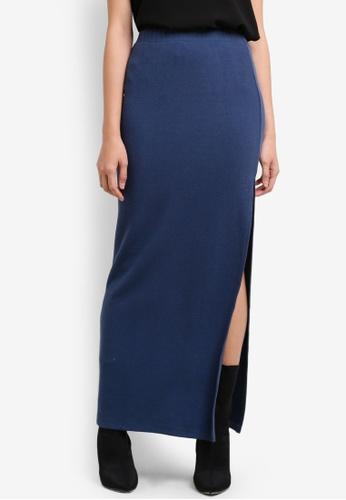 Something Borrowed blue High Slit Maxi Tube Skirt 56417AA9ED5C88GS_1