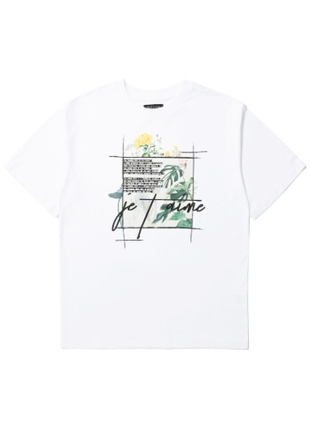tout à coup white Floral graphic print tee 9F00EAA7622010GS_1