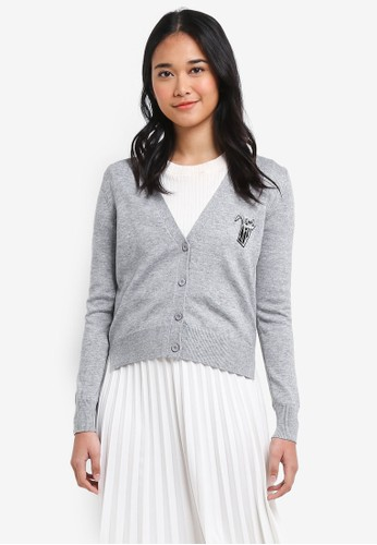 Hopeshow grey Embroidered Patch Cardigan 9CCCFAAB607FB7GS_1