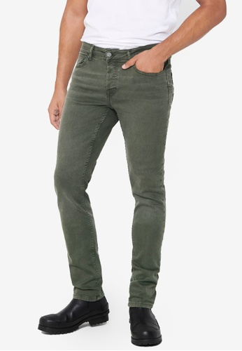 Only & Sons green Loom Life Slim Twill Jeans B1882AA24518A7GS_1