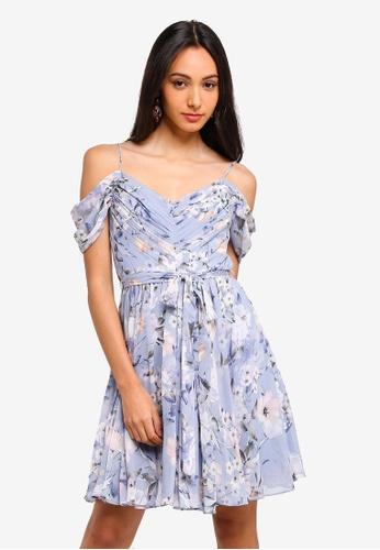 Forever New blue Dani Cold Shoulder Soft Prom Dress 30E94AA8D20365GS_1