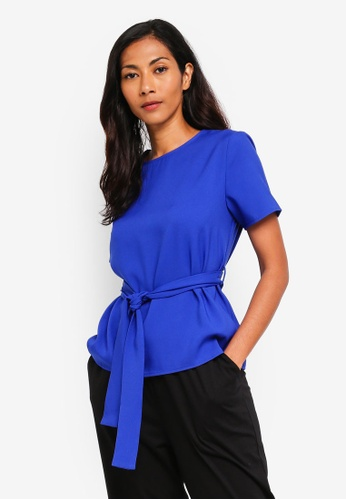 ZALORA BASICS blue Basic Self Tie Short Sleeves Top B9892AA2EC6410GS_1