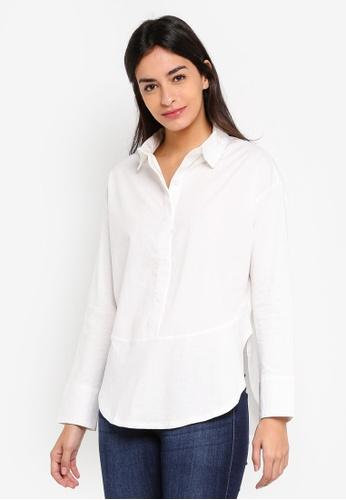 JACQUELINE DE YONG white Lima Long Sleeve Shirt 006D0AA58C026EGS_1