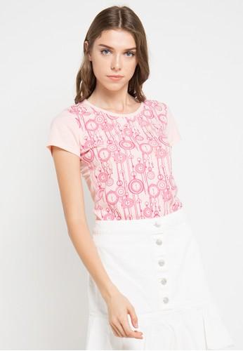 MEIJI-JOY pink Print Key Ring short sleeve Tshirt ME642AA0VRJAID_1
