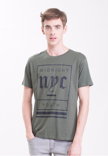 Drum Midnight Nyc Tee-army Green DR425AA0S7GYMY_1