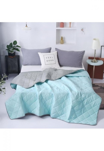 Bedding Day grey and blue Bedding Day - Soft Microfiber Solid 700TC Summer Comforter - Ice Blue & Ash Grey CE7B0HL82F1345GS_1