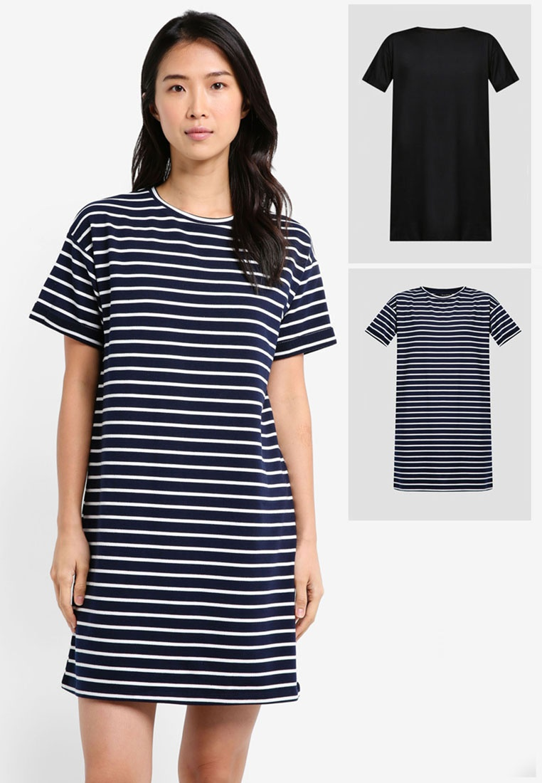 Pack BASICS T Essential Dress amp; Black ZALORA White 2 Stripe Shirt Navy fwgpFF