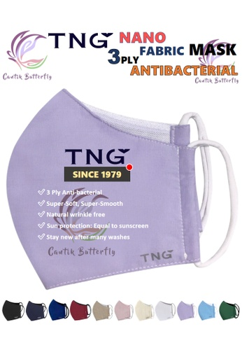 Cantik Butterfly TNG 3 Ply Antibacterial Nano Fabric Mask Reusable (Lavender) Set of 5 D7A71ES26109E2GS_1