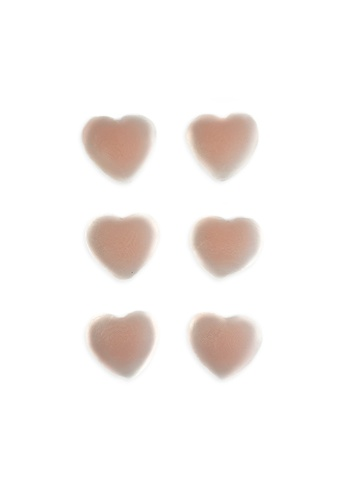 PINK N' PROPER beige Ultimate Silicone Heart Reusable Stick On Nipple Pasties (3 Pack) 2B152US7D620A2GS_1