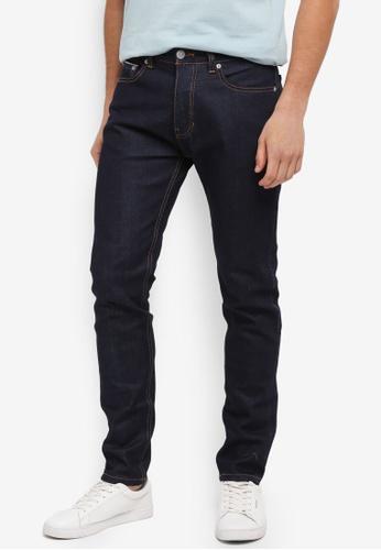 Burton Menswear London navy Indigo Wash Carter Selvedge Tapered Fit Jeans 9E81BAAA4B9DE2GS_1
