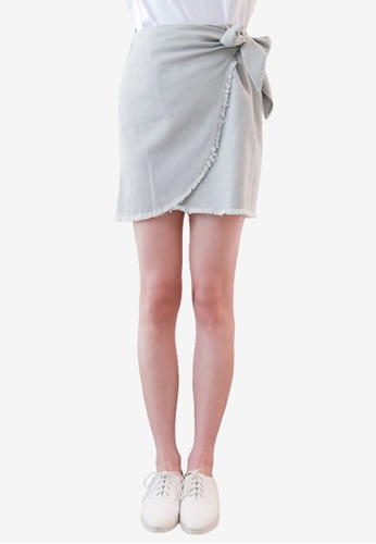 Tokichoi grey Wrap Skirt with Ribbon Tie BEEB2AABD0C8E5GS_1