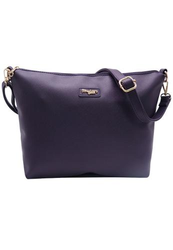 STRAWBERRY QUEEN purple Strawberry Queen Flamingo Sling Bag (Saffiano Leather AZ, Dark Purple) AA5BEACC3C3611GS_1
