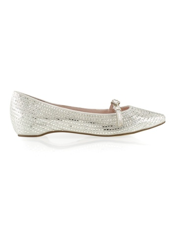 Gripz silver Cae Pointed Toe Mary Jane Shimmery Flats A00A0SH152A742GS_1