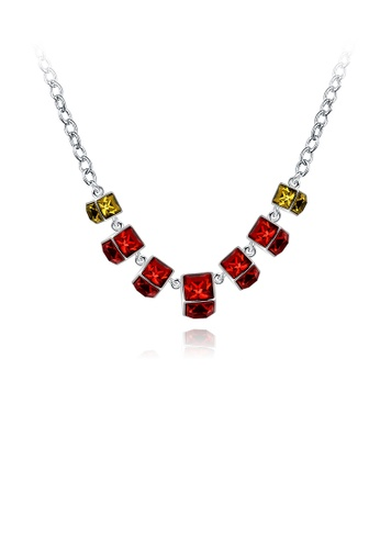 Glamorousky silver Elegant Noble Geometric Red Square Necklace D8E0CAC2EE19B1GS_1