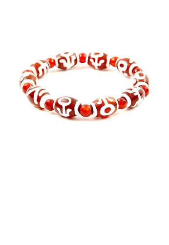 Glamorousky red Lucky Dzi Bead Bracelet (10x14mm) - Monseigneur 957CCAC215D083GS_1