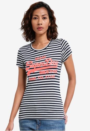 Superdry navy Vintage Logo Stripe Entry Tee 4152DAA63E7EDBGS_1