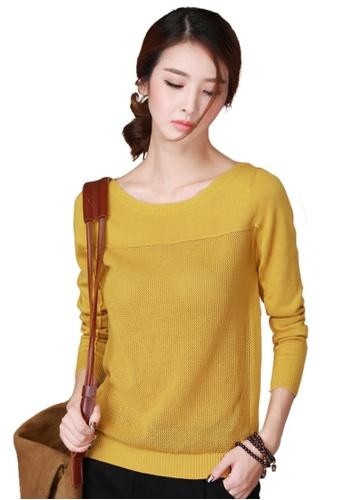 A-IN GIRLS yellow Fashion Stitching Long-Sleeved Knit Shirt E9FCEAAC83DFF0GS_1