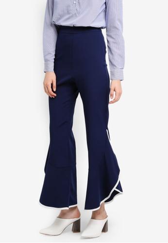 Zalia navy Contrast Binding Frill Pants 1544AAA6BA7C09GS_1
