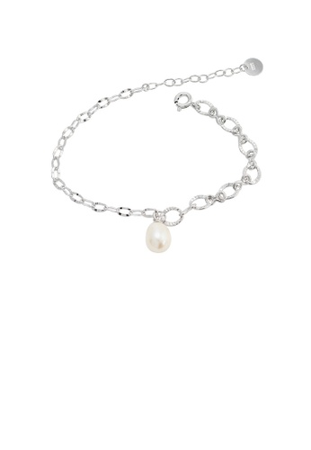 Glamorousky white 925 Sterling Silver Fashion Simple Geometric Ring Bracelet with Freshwater Pearls 65CC0AC230AC9CGS_1