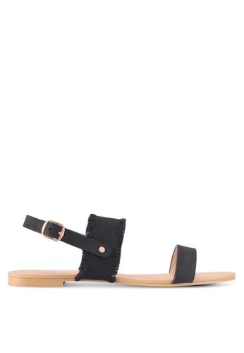 ZALORA black Canvas Detail Sandals EB99BSH225971BGS_1
