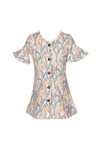 Mini Moley grey Floral Print Girl's Button Down Dress 8048EKADEF11EEGS_1