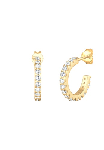 top design Nouvelle design professionnel Elli Germany Earrings Creole Geo Swarovski Crystals Silver Gold Plated