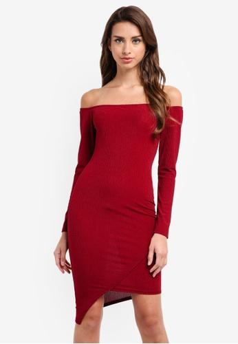 MISSGUIDED red Rib Bardot Long Sleeve Bodycon Midi Dress 462D2AA6DA6BBDGS_1
