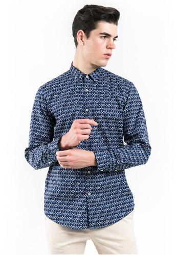 MANLY MANLY Truemann Blue Slim Fit Pattern Shirt 763EAAAAE46330GS_1