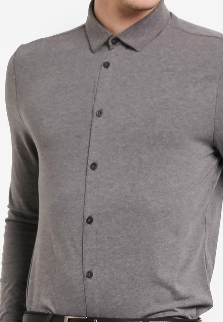 Charcoal Button London Charcoal Jersey Stretch Menswear Through Burton Shirt SrdqS0