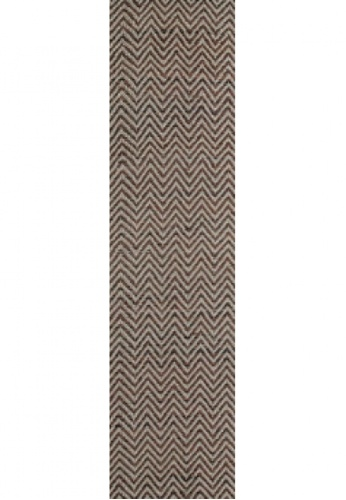 Living DNA Chevron Leather Brown Runner Rug D7AD7HLE6F7658GS_1