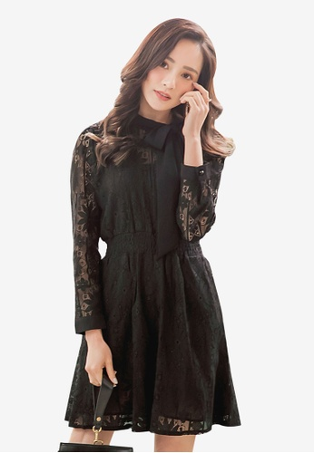 YOCO black Floral Lace Ribbon Dress 60A04AAC34C043GS_1