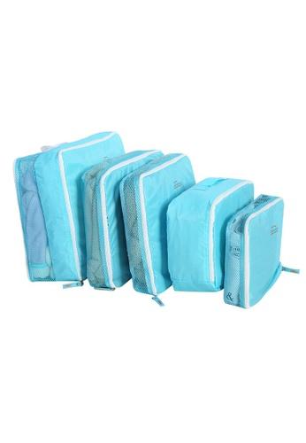 A FRENZ blue 5 Pcs Set Travel Storage Bags Luggage Packing Organizer B9C6CACEC8FB0EGS_1