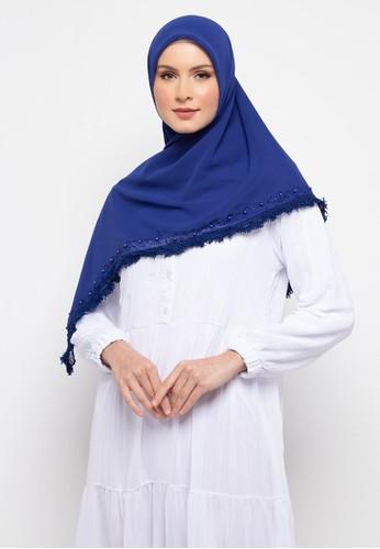 KASHKHA blue Hijab Poly Georgette With Lace and stone By Kashkha/A17SHBAHJBKGR2230 - Royal Blue CF573AAB104D58GS_1