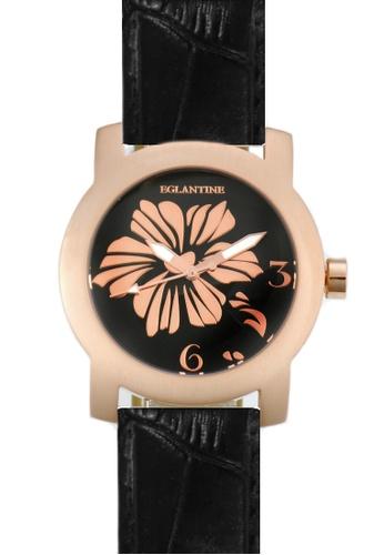 EGLANTINE black and pink EGLANTINE® Bauhinia Ladies Pink Gold Plated Steel Quartz Watch  on Leather Strap 3FD23ACECA0E1DGS_1