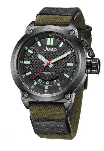 Jeep Wrangler Series JPW61502 Multifunction Watch Black Army Green Canvas