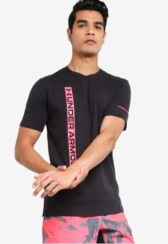 Under Armour 黑色 Vertical Wordmark Short Sleeve T-Shirt 392BDAA6C61DF3GS_1