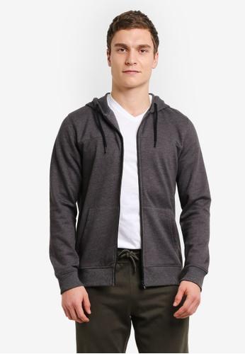 Burton Menswear London 灰色 Charcoal Marl Zip-Through Hoodie BU964AA0SHOBMY_1