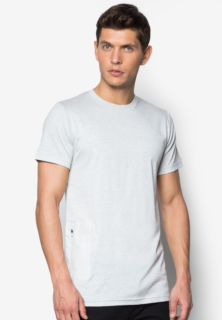 With Pocket Grey Heather ZALORA Long Line Tee E1HaPxqw