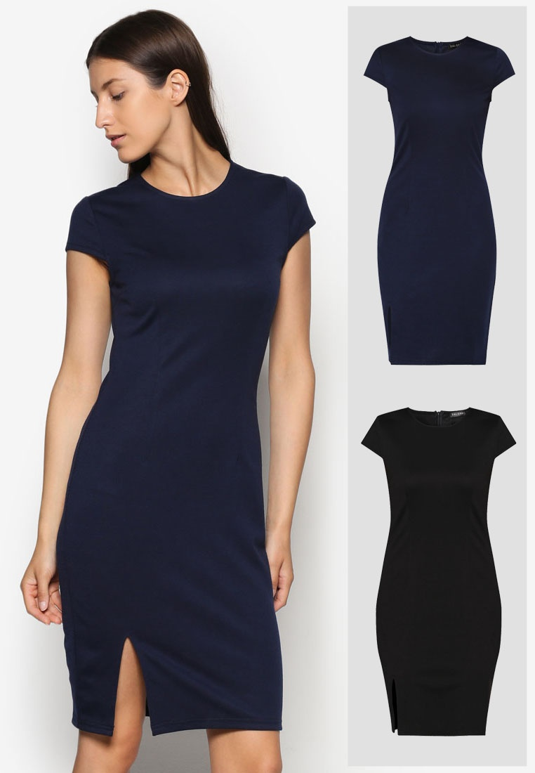 Black Pack Slit Basic Dress Bodycon ZALORA Front Navy 2 Zq4wdv00