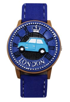 Flip Top London Minnie Cooper Unisex Blue Leather Strap Watch