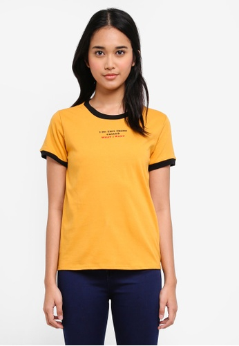 Penshoppe yellow Semi Fit Tee With Embroidery Detail DD366AA8BB0BB1GS_1