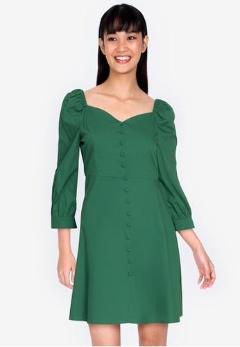 ZALORA BASICS green Sweetheart Neckline Fit & Flare Dress 08D28AA6F0FD30GS_1